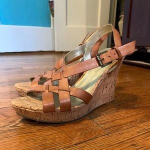 Tan platform wedges from Guess